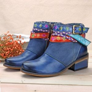 SOCOFY Friday Splicing Handmade Leather Boots
